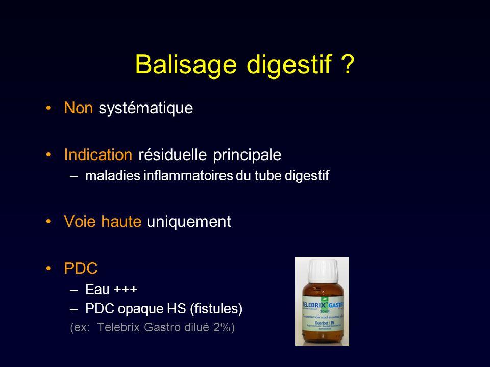 Balisage digestif Non systématique Indication résiduelle principale