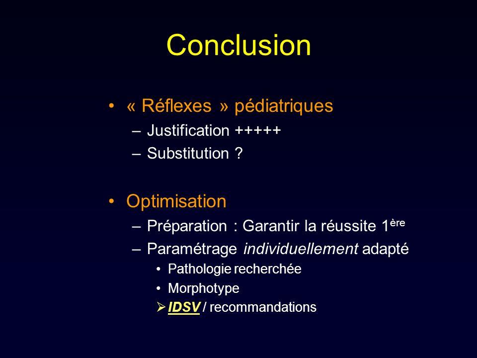 Conclusion « Réflexes » pédiatriques Optimisation Justification +++++