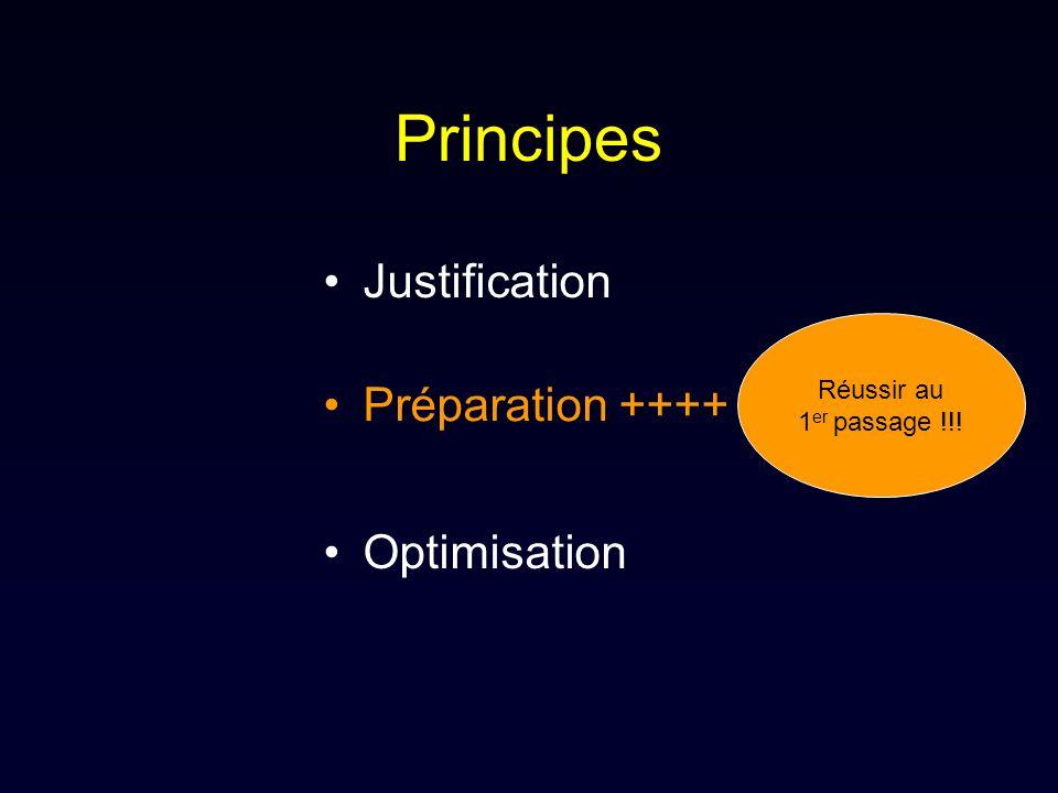 Principes Justification Préparation ++++ Optimisation Réussir au