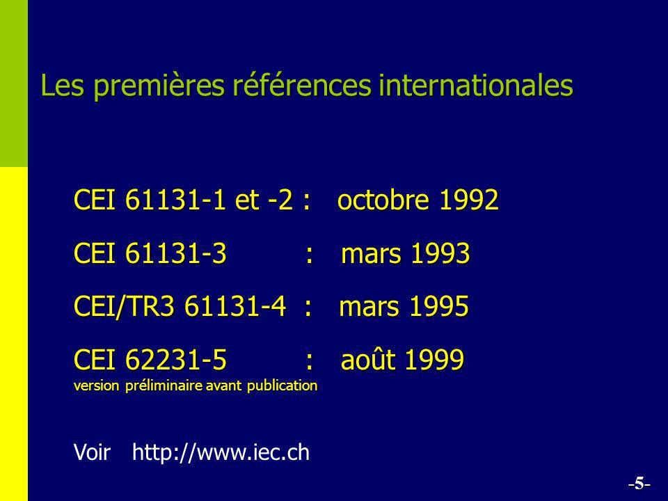 Les premières références internationales