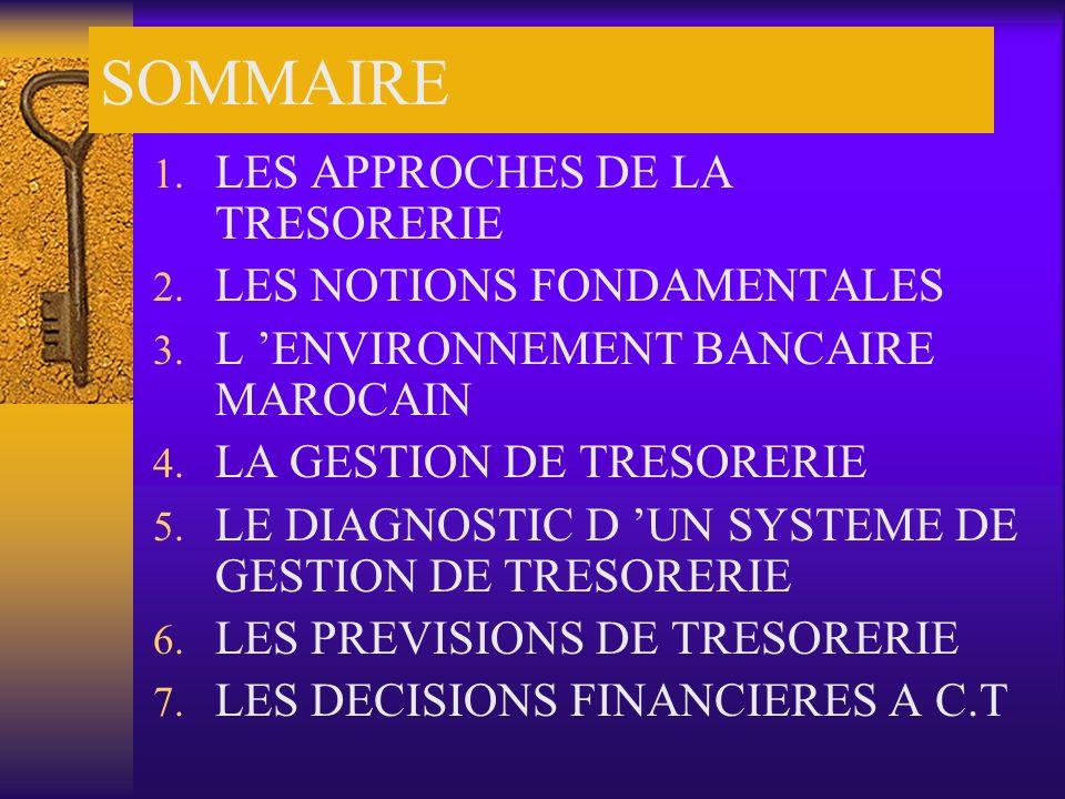 SOMMAIRE LES APPROCHES DE LA TRESORERIE LES NOTIONS FONDAMENTALES
