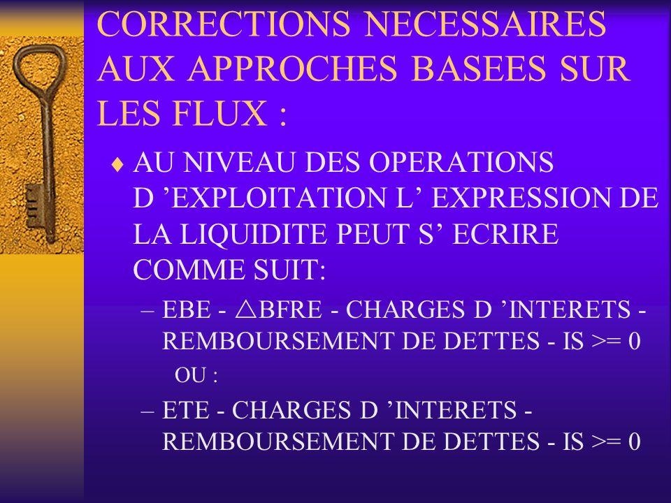 CORRECTIONS NECESSAIRES AUX APPROCHES BASEES SUR LES FLUX :