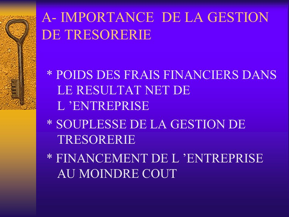 A- IMPORTANCE DE LA GESTION DE TRESORERIE
