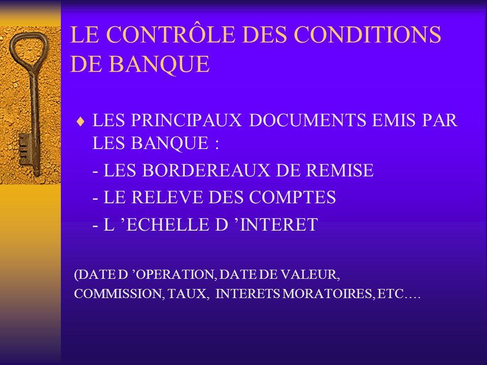 LE CONTRÔLE DES CONDITIONS DE BANQUE