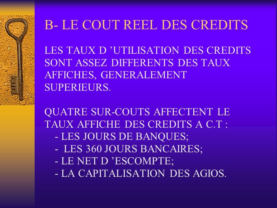 B- LE COUT REEL DES CREDITS