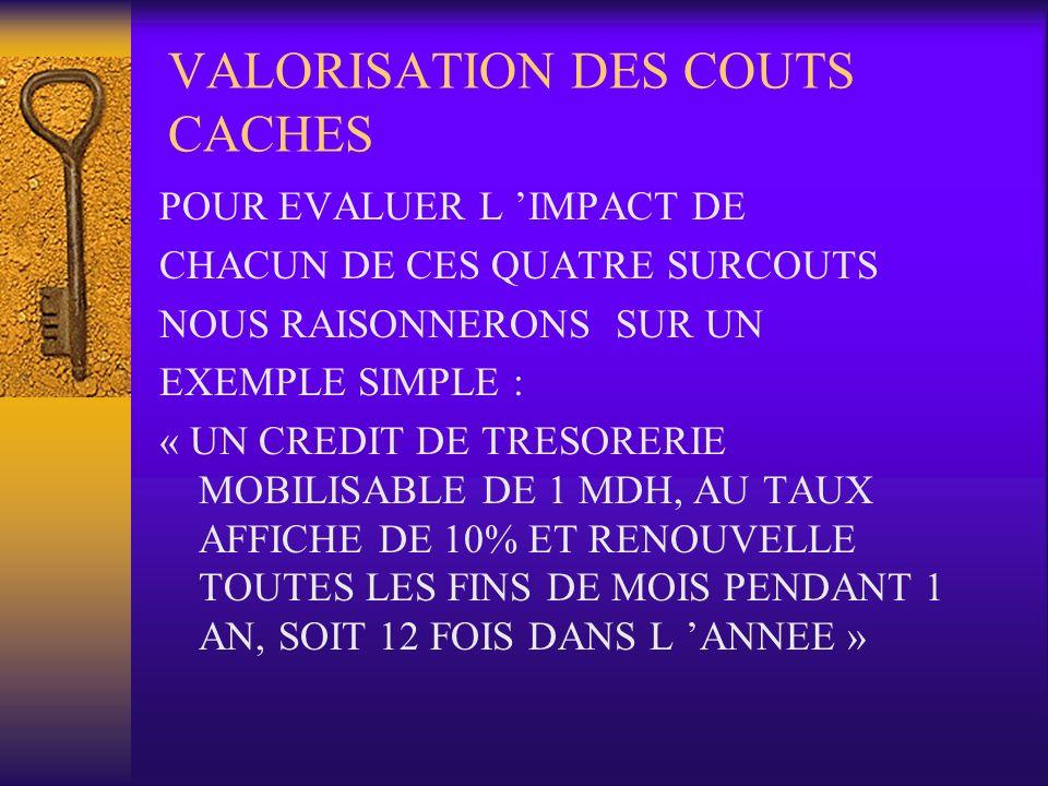 VALORISATION DES COUTS CACHES