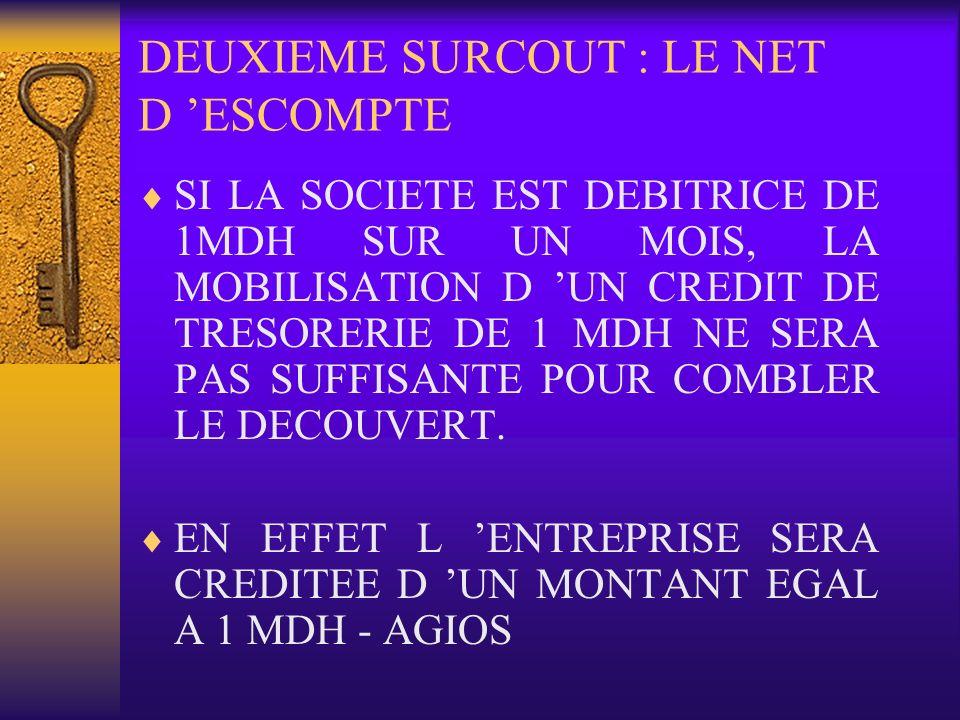 DEUXIEME SURCOUT : LE NET D 'ESCOMPTE