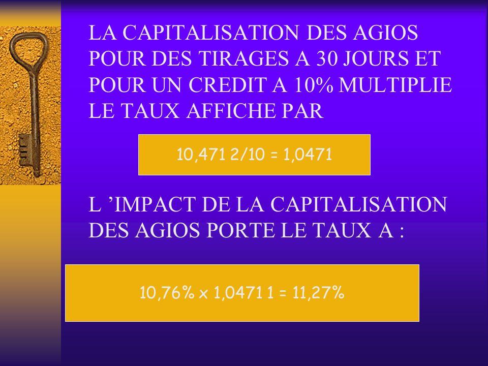 L 'IMPACT DE LA CAPITALISATION DES AGIOS PORTE LE TAUX A :