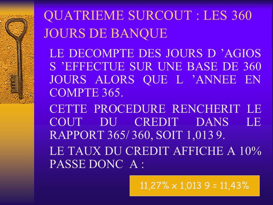 QUATRIEME SURCOUT : LES 360 JOURS DE BANQUE