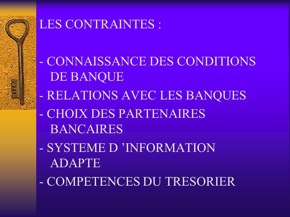 LES CONTRAINTES : - CONNAISSANCE DES CONDITIONS DE BANQUE. - RELATIONS AVEC LES BANQUES. - CHOIX DES PARTENAIRES BANCAIRES.