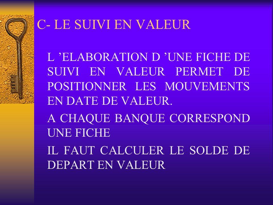 C- LE SUIVI EN VALEURL 'ELABORATION D 'UNE FICHE DE SUIVI EN VALEUR PERMET DE POSITIONNER LES MOUVEMENTS EN DATE DE VALEUR.