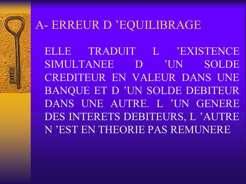 A- ERREUR D 'EQUILIBRAGE