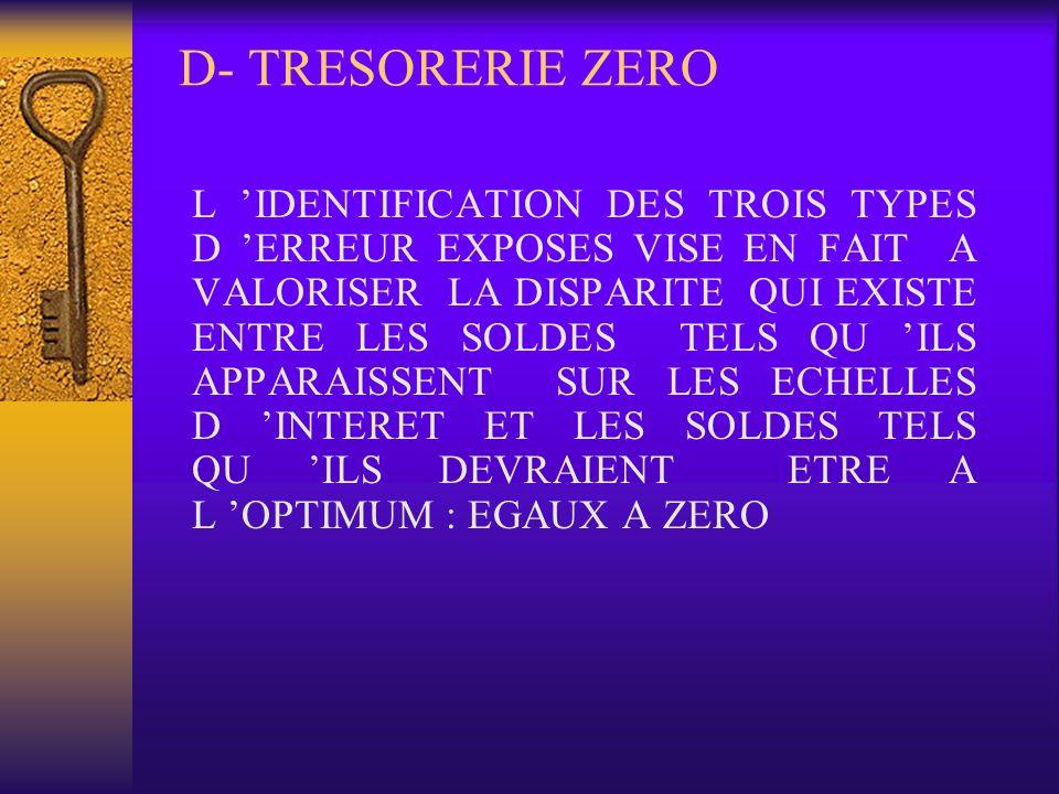 D- TRESORERIE ZERO