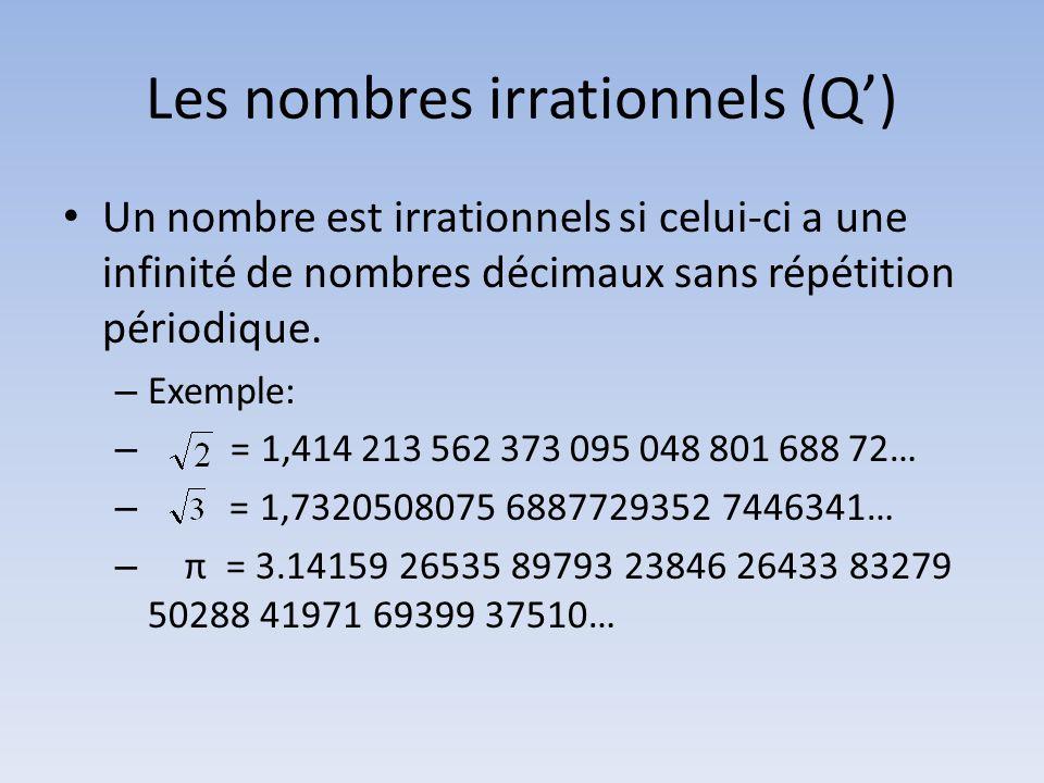 Les nombres irrationnels (Q')
