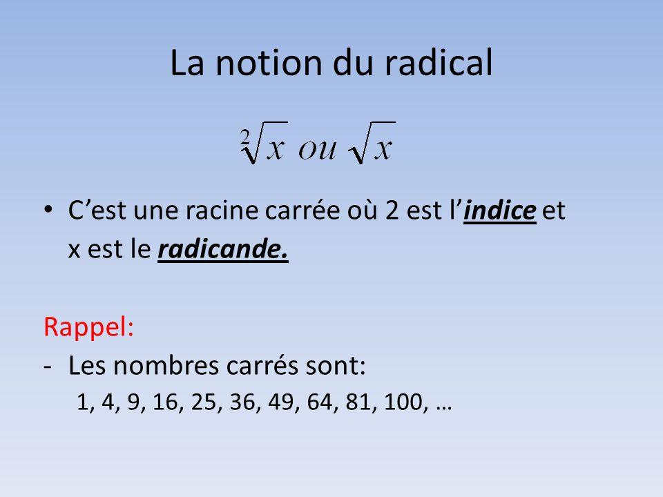 La notion du radical C'est une racine carrée où 2 est l'indice et