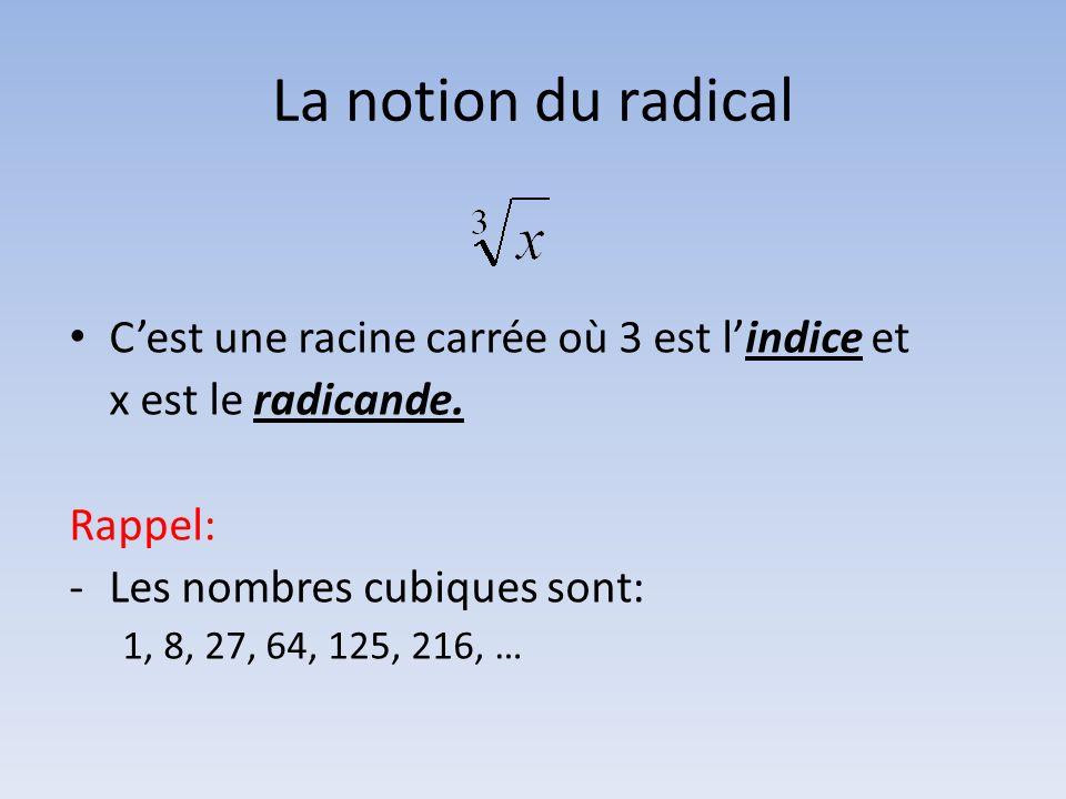La notion du radical C'est une racine carrée où 3 est l'indice et