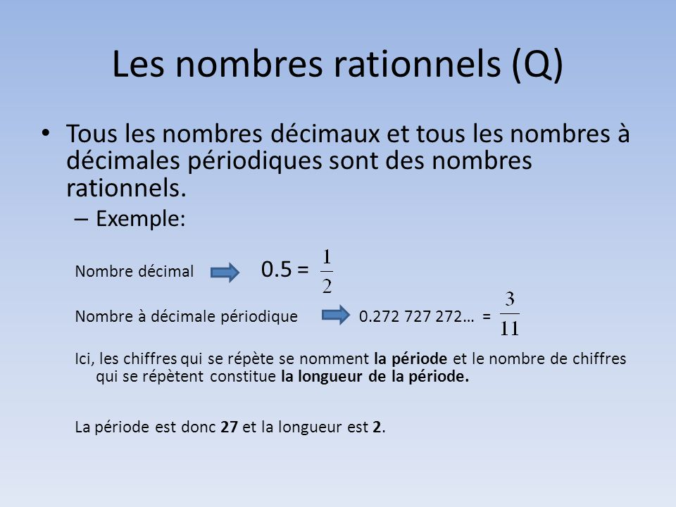 Les nombres rationnels (Q)