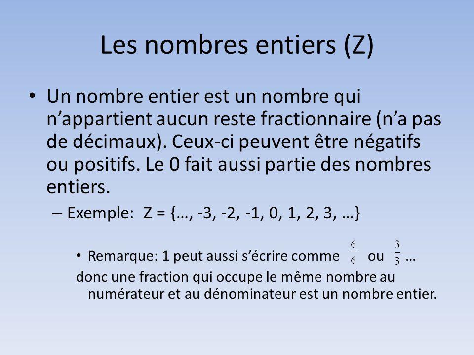Les nombres entiers (Z)