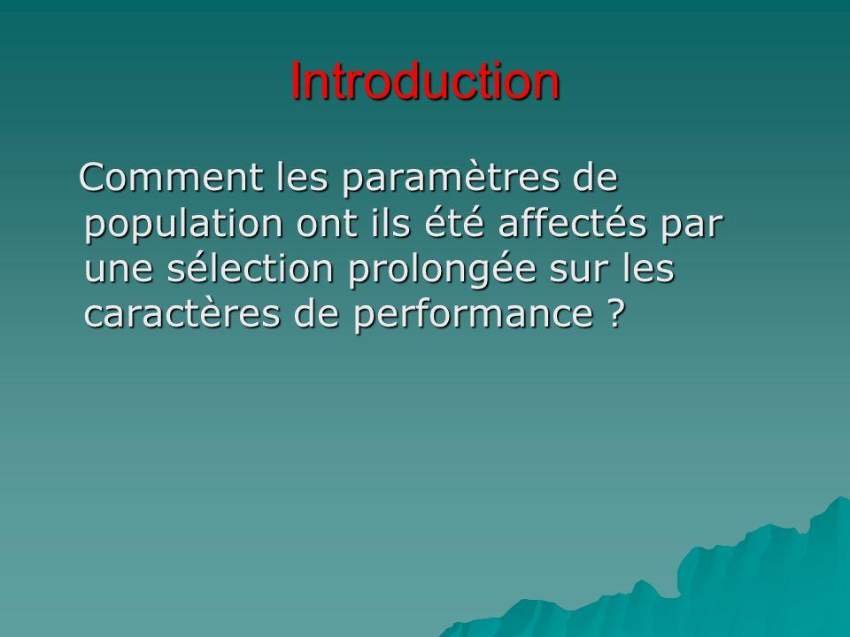 Introduction Comment les paramètres de population ont ils été affectés par une sélection prolongée sur les caractères de performance