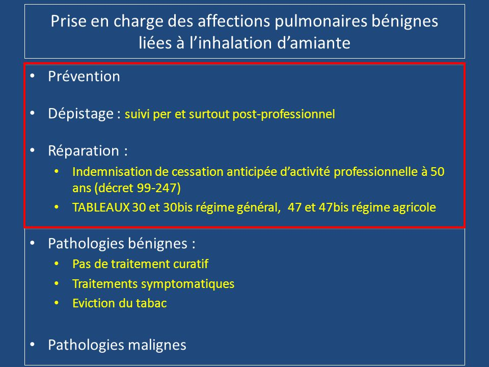 Prise en charge des affections pulmonaires bénignes