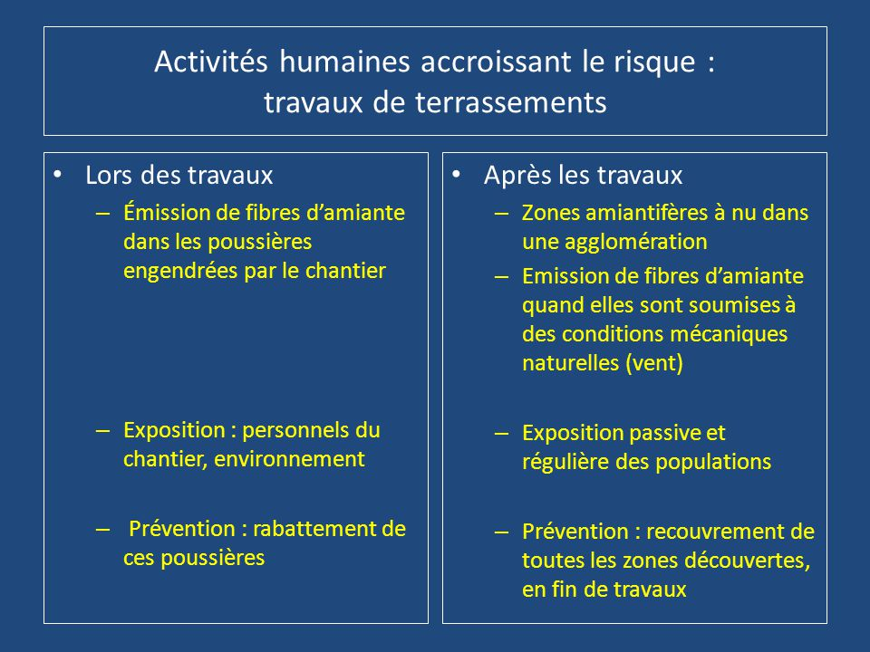 Activités humaines accroissant le risque : travaux de terrassements