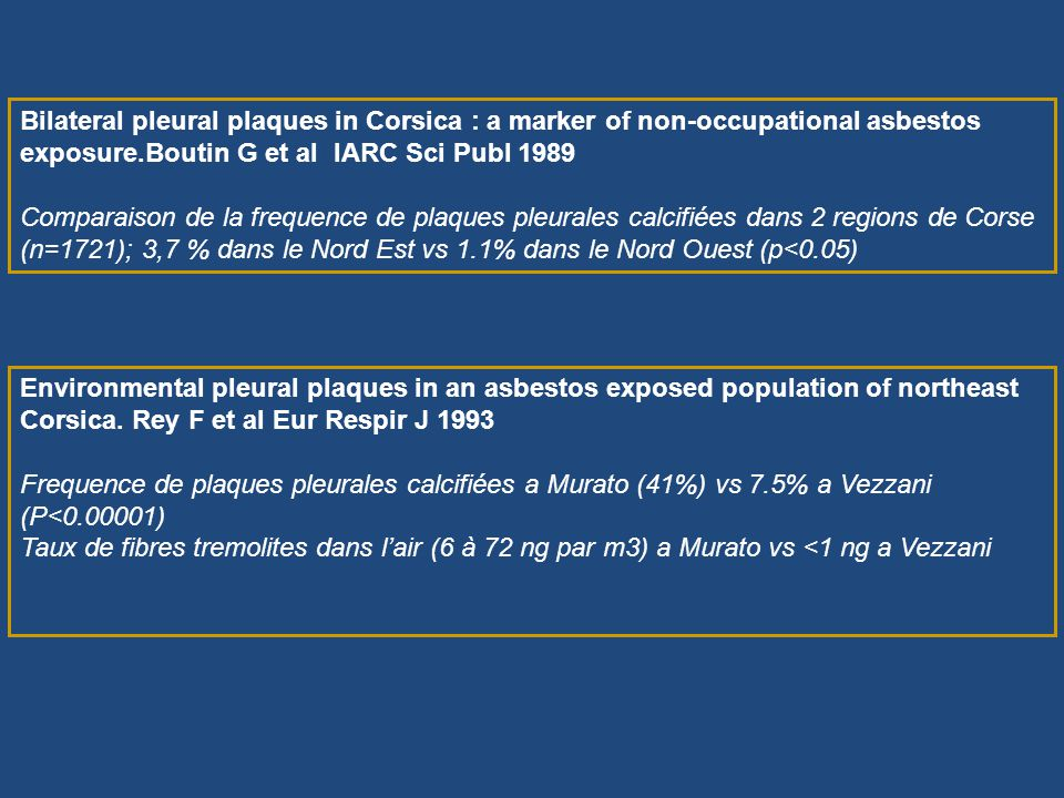 Bilateral pleural plaques in Corsica : a marker of non-occupational asbestos exposure.Boutin G et al IARC Sci Publ 1989