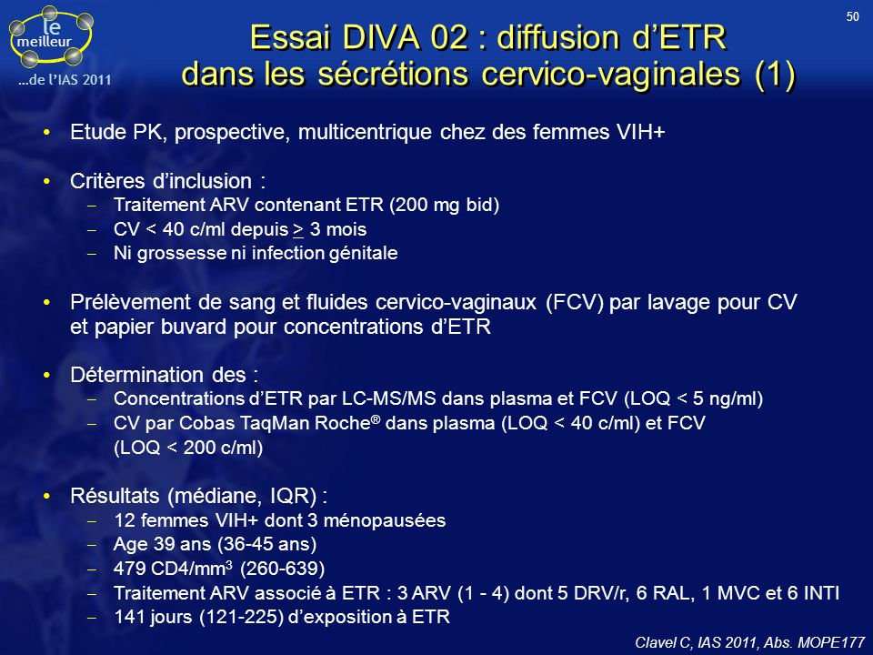 50 Essai DIVA 02 : diffusion d'ETR dans les sécrétions cervico-vaginales (1) Etude PK, prospective, multicentrique chez des femmes VIH+