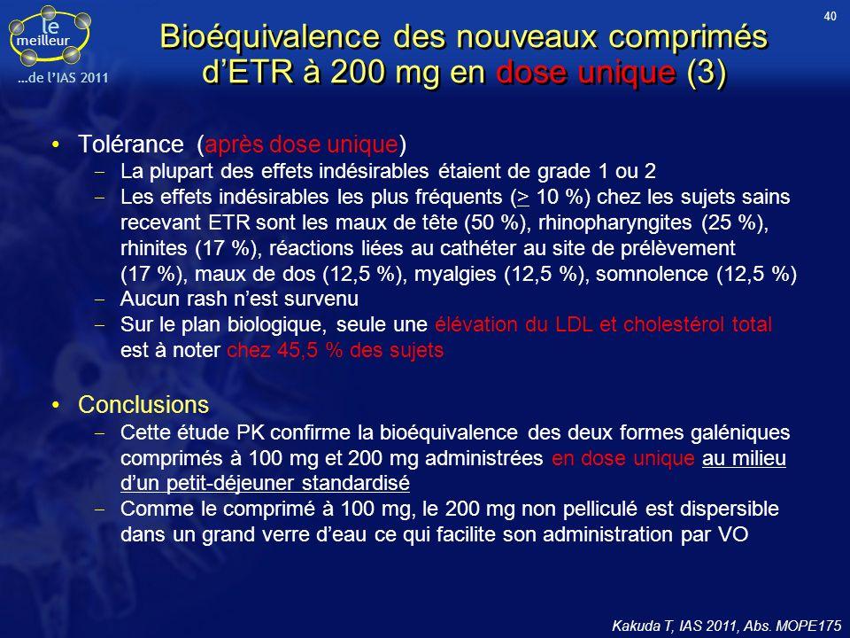 40 Bioéquivalence des nouveaux comprimés d'ETR à 200 mg en dose unique (3) Tolérance (après dose unique)