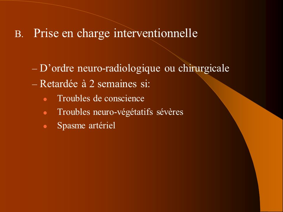 Prise en charge interventionnelle