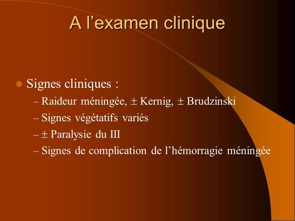 A l'examen clinique Signes cliniques :