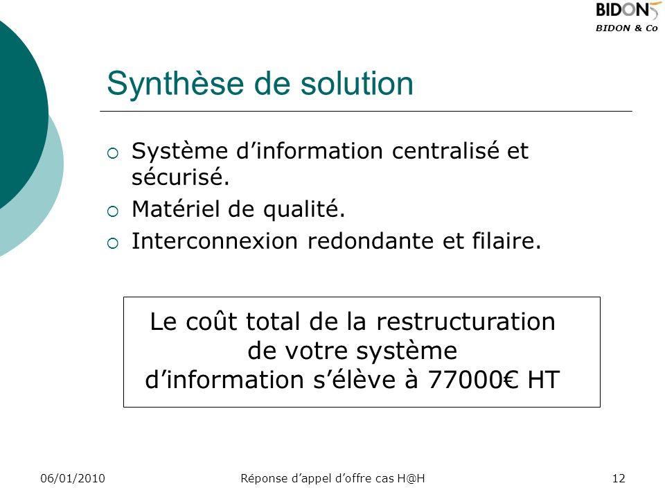 Synthèse de solution Système d'information centralisé et sécurisé. Matériel de qualité. Interconnexion redondante et filaire.