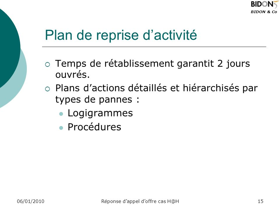 Plan de reprise d'activité