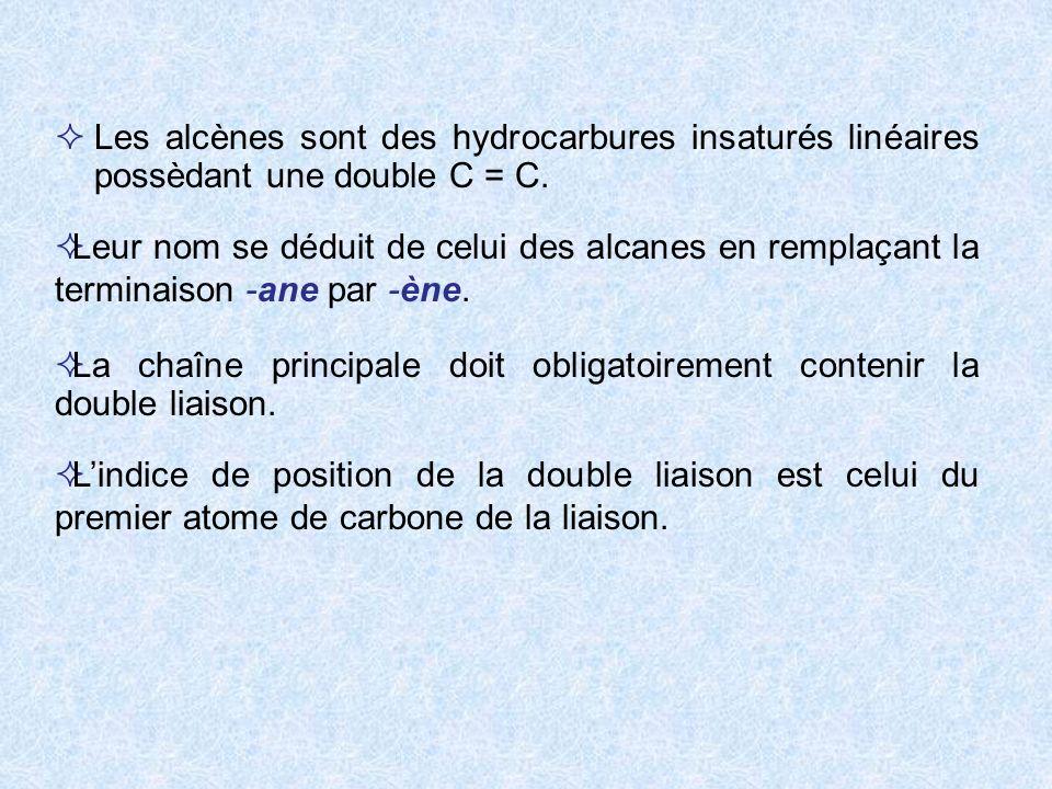 Les alcènes sont des hydrocarbures insaturés linéaires possèdant une double C = C.