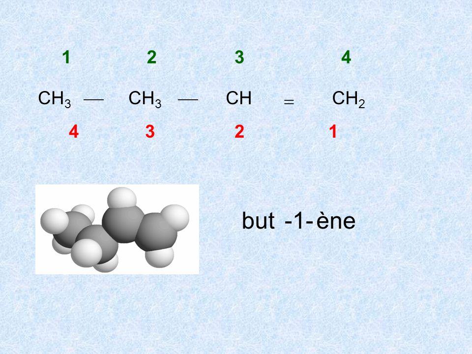 1 2 3 4 CH3  CH3  CH CH2  4 3 2 1 but -1- ène
