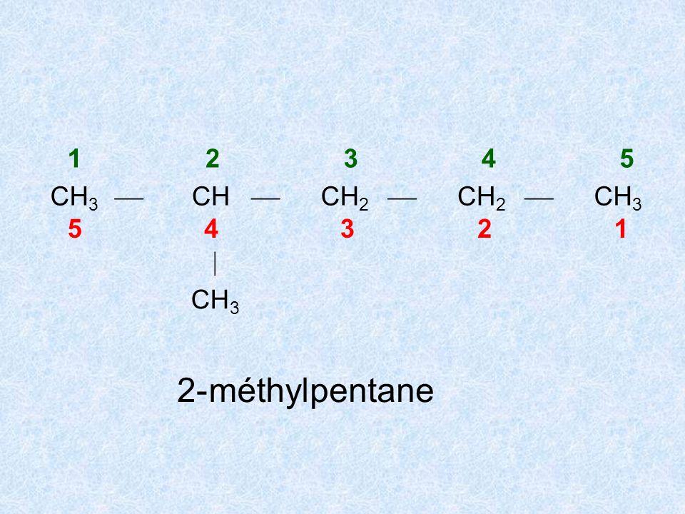 1 2 3 4 5 CH3  CH CH2 5 4 3 2 1  CH3 2- méthyl pentane
