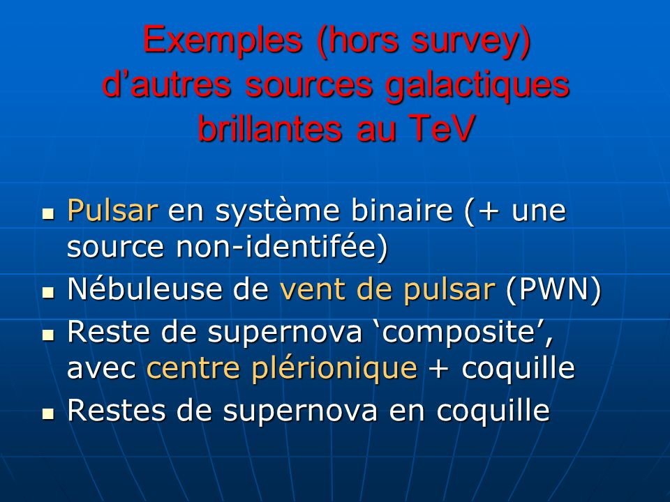Exemples (hors survey) d'autres sources galactiques brillantes au TeV
