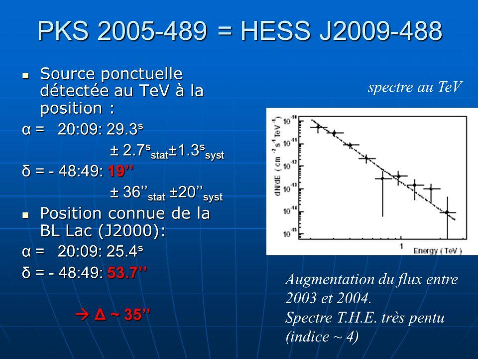 PKS 2005-489 = HESS J2009-488Source ponctuelle détectée au TeV à la position : α = 20:09: 29.3s. ± 2.7sstat±1.3ssyst.