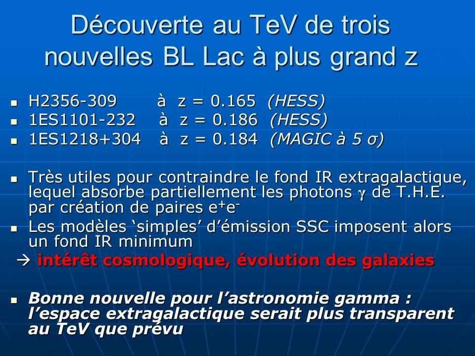 Découverte au TeV de trois nouvelles BL Lac à plus grand z