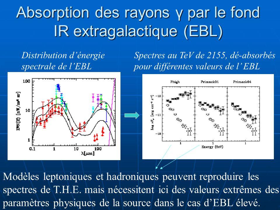 Absorption des rayons γ par le fond IR extragalactique (EBL)