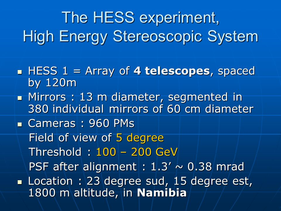 The HESS experiment, High Energy Stereoscopic System
