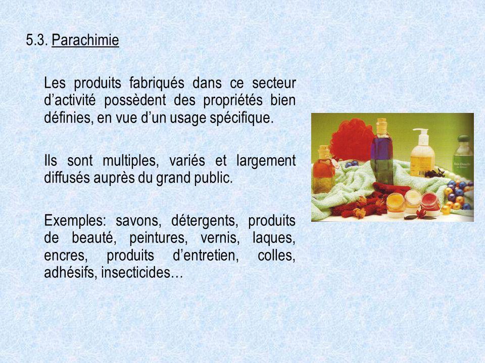 5.3. Parachimie Les produits fabriqués dans ce secteur d'activité possèdent des propriétés bien définies, en vue d'un usage spécifique.