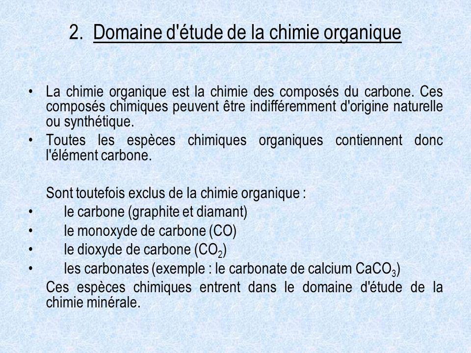 2. Domaine d étude de la chimie organique