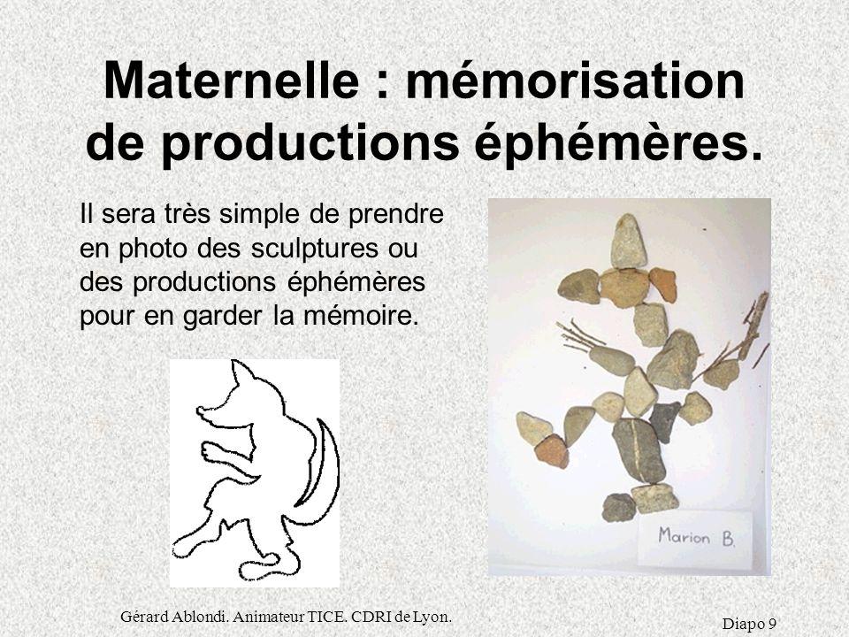 Maternelle : mémorisation de productions éphémères.