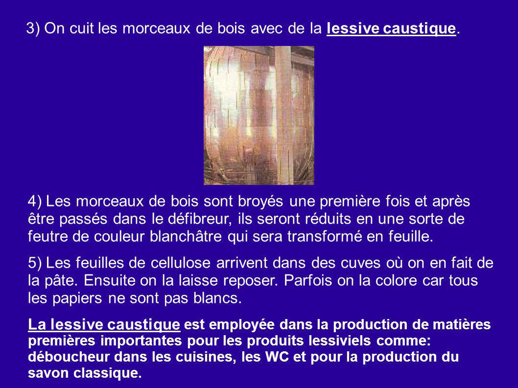 3) On cuit les morceaux de bois avec de la lessive caustique.