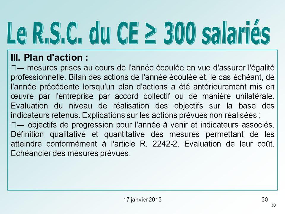 Le R.S.C. du CE ≥ 300 salariés III. Plan d action :