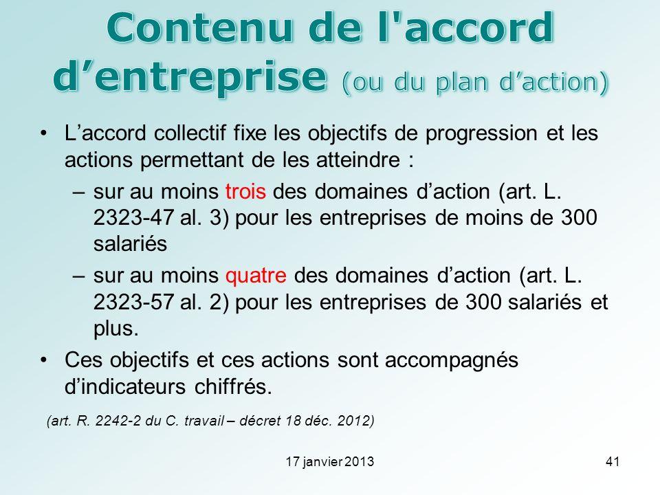 Contenu de l accord d'entreprise (ou du plan d'action)