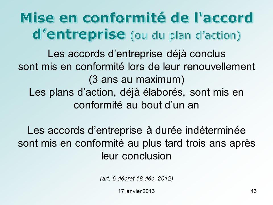 Mise en conformité de l accord d'entreprise (ou du plan d'action)