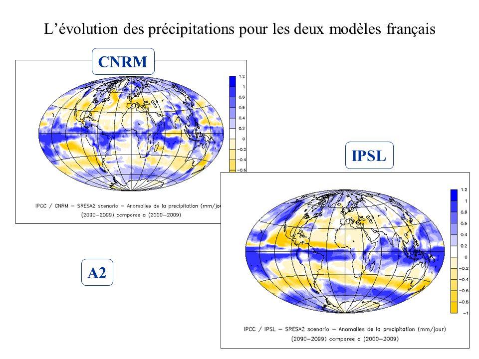 L'évolution des précipitations pour les deux modèles français