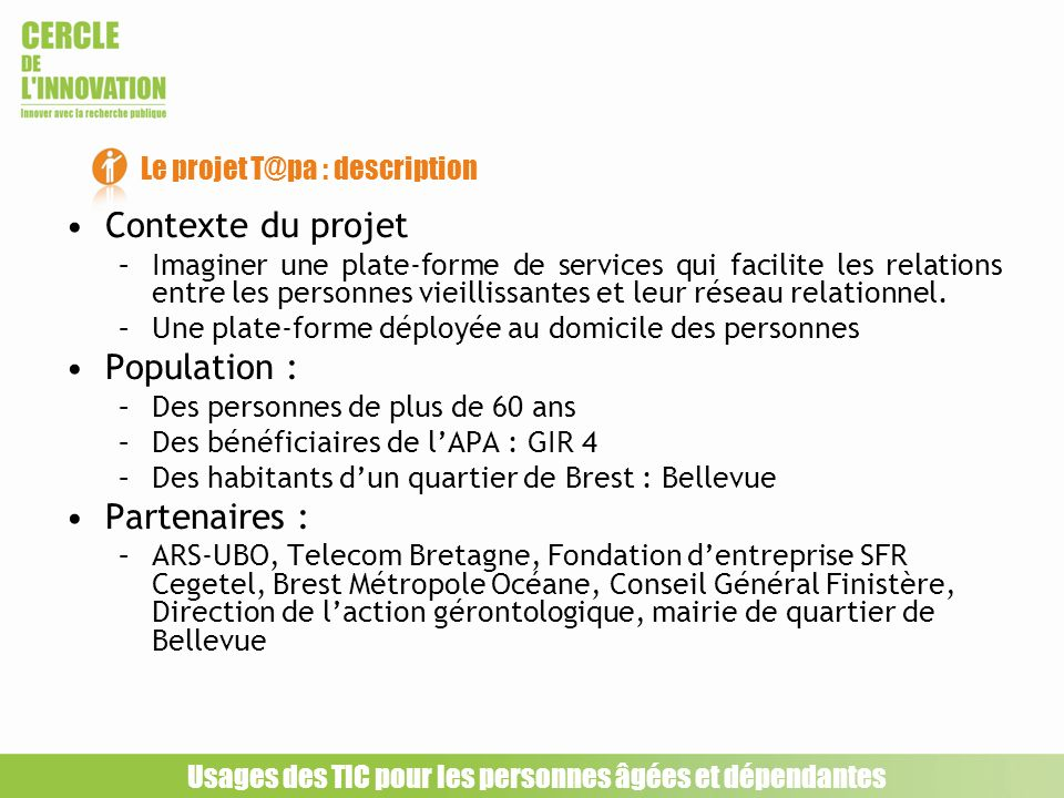 Le projet T@pa : description
