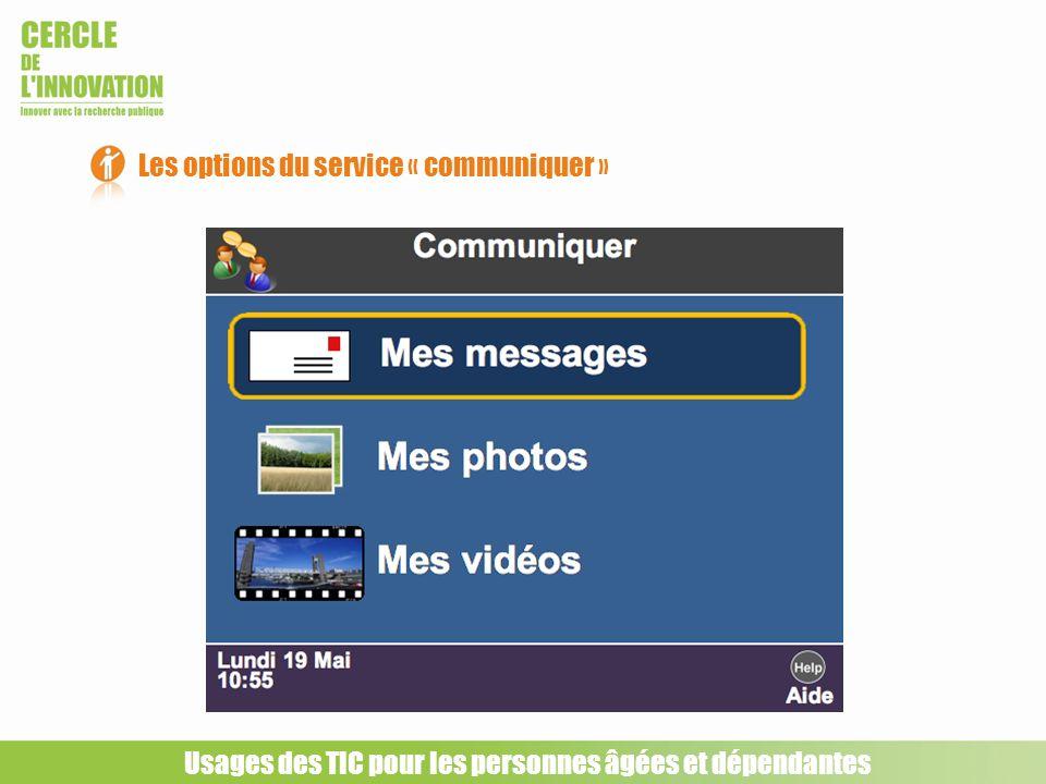 Les options du service « communiquer »